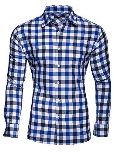 Herren Blau-kariertes Hemd (KAYHAN Herren Hemd Slim Fit Bügelleicht, Kariert-DOPPELFARBIG Blau (L))