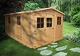 TIMBELA M337 ABRI de Jardin en Bois Exterieur - Chalet en Pin/épicéa- 500x300 cm/15 m²
