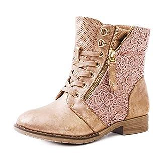 Marimo24 Damen #Trendboot Stiefel Stiefeletten Worker Boots mit Spitze in hochwertiger Lederoptik Champagner 41