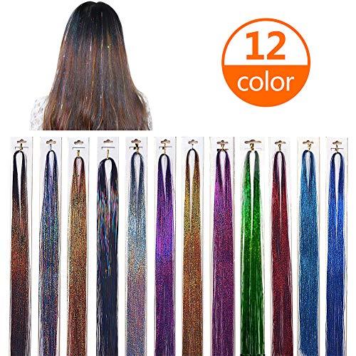 Haar Lametta,12 Stücke 40 Zoll Haar Lametta 1200 Stränge Funkelnde Glänzende Haar Lametta Extensions Multi-Farben Haar Streifen für Party Supplies,12 Farben