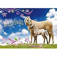 12 Pferde Einladungen (Set 3): 12 Set Einladungskarten Zum Kindergeburtstag