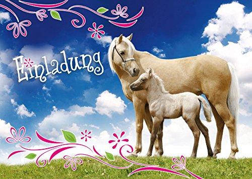 12 Pferde-Einladungen (Set 3): 12-Set Einladungskarten zum Kindergeburtstag - Einladungen zum Geburtstag für Mädchen und Jungen von EDITION COLIBRI (10780)
