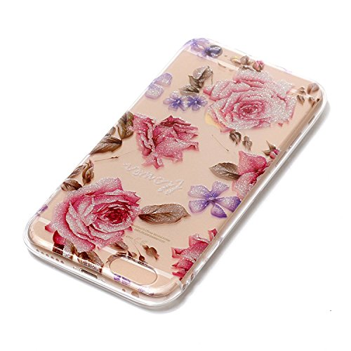 Coque iPhone 6 , iPhone 6S Coque , E-Lush Apple iPhone 6 / 6S Etui TPU Vague Motif Mode Etui Housse Ultra Mince Bumper Housse Clear Silicone Gel Souple Flexible Premium TPU Coque Cover Case Anti-Rayur Rose