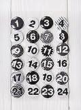 1a Qualität - 24 Adventskalender-Zahlen-Buttons in schwarz weiß Shabby Style zum selber Basteln; 1 bis 24; Sticker aus Alu Metall Blech - mit einer Nadel hinten DIY