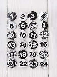 1a qualit t 24 adventskalender zahlen buttons in schwarz wei shabby style zum selber basteln. Black Bedroom Furniture Sets. Home Design Ideas
