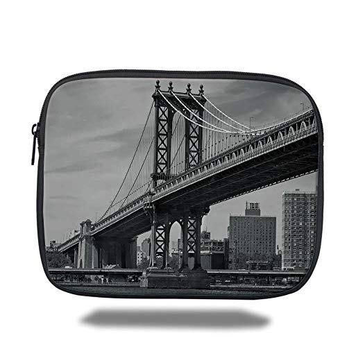 Tablet Bag for Ipad air 2/3/4/mini 9.7 inch,New York,Bridge of NYC Vintage East Hudson River Image USA Travel Top Place City Photo Art Print,Grey,Bag - New York-slim Briefcase