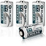 Olight® 16340 CR123A Batterie Lithium 3V 1600mAh für Olight Taschenlampe S1 Baton / S10R Baton II / S2 Baton Series und andere Geräte wie Kameras - 2er-/4er-/8er-Pack (Original)