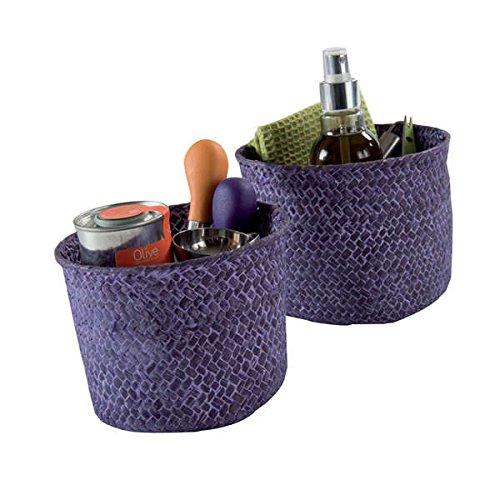 Compactor mika set 2 cestini, giunco intrecciato, viola, small 14 x 11 cm/large 16 x 12 cm