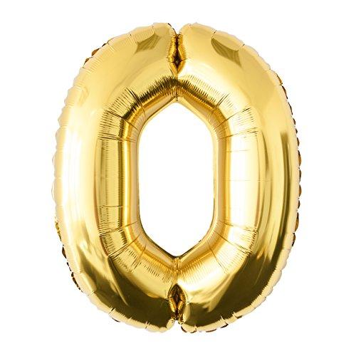 Globo de lámina 0 dorado Número enorme 100 cm rellenable con helio o aero fiesta de cumpleaños