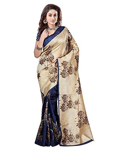 Bmr Womens Art Silk Cotton Saree (Ev-02 _Beige _Free Size)