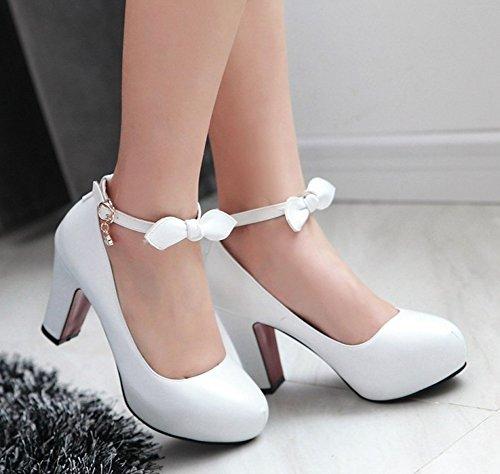 Aisun Femme Chic Noeud Chaussures de Mariage Style Escarpins Blanc