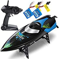 SGILE 2.4GHz RC Boat - 25KM/H Racing Boat with Double Waterproof Layers & 180° Capsize Recover, Black