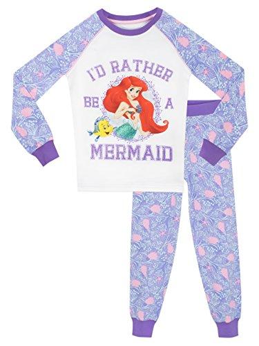 Disney - pigiama a maniche lunghe per ragazze - the little mermaid - vestibilitta stretta - 5 a 6 anni