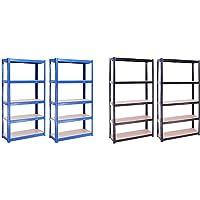Rangement Garage: 150cm x 75cm x 30cm, Deux unités, Bleu - 5 Niveaux, 175 kg par tablette & Rangement Garage: 180cm x…