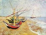 "Kunstdruck Poster: Vincent van Gogh ""Barche sulla spiaggia"" 80 x 60"