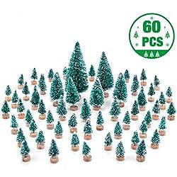 MELLIEX 60 pièces Mini Arbre de Noel Sapin de Noel Artificiel Table Arbres pour la Décoration de Maison de Fête de Noël