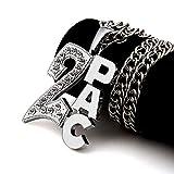 MKHDD Hombres Mujeres Cadena de Eslabones Hip Hop Hielo 2PAC Colgantes Collares Encanto Franco 31.5 Pulgadas Cadenas Joyería Regalos,Silver