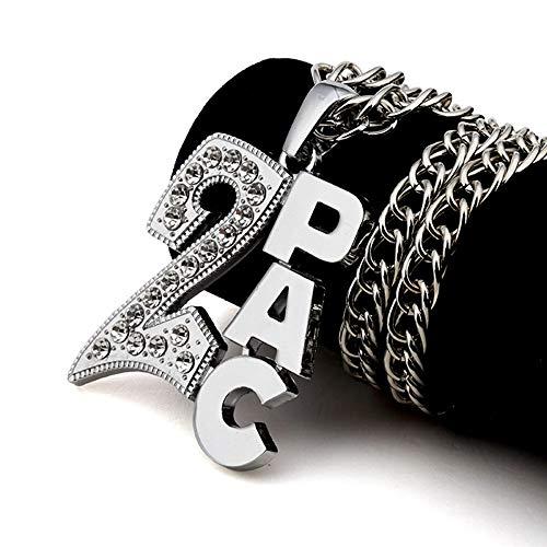 Männer Frauen Hip Hop Gliederkette Ice Out 2PAC Anhänger Halsketten Charm Franco 31,5 Zoll Ketten Schmuck Geschenke,Silver (Für Seil-kette Gold Männer Rose)