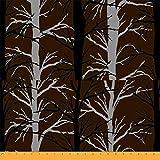 Soimoi Braun Viskose Chiffon Stoff Silhouette Baum Stoff