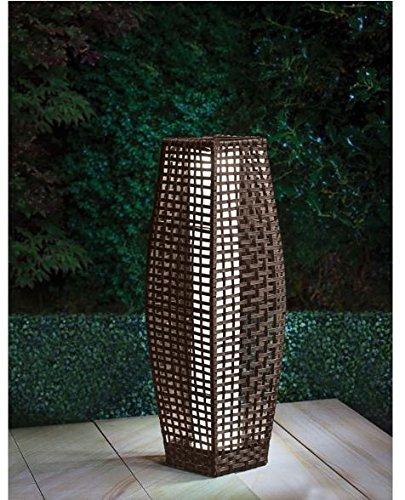 Venise Lampadaire de jardin en rotin avec éclairage LED Blanc