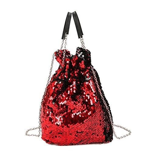 CHIC DIARY Beutel Damen Handtasche Umhängetasche Schultertasche Eimer Tasche Partytasche Pailletten Sequin PU Leder Glitzer mit Zugband (Rot)