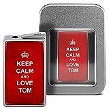 Feuerzeug mit Namen Tom - personalisiertes Gasfeuerzeug mit Design Keep Calm - inkl. Metall-Geschenk-Box