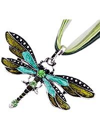 ZiZi Tanzanite Blue ~ Enamel Dragonfly Necklace ~ Swarovski Crystal Elements ~ Comes Presented in a ZiZi Gift Box