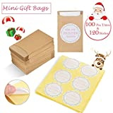 Zalava Mini Geschenktüten, 100 Stück Freudentränen Geschenktüten & Sticker Vintage Flachbeutel Papiertüten mit Aufkleber Tüten für Hochzeit, Taschentücher, Schmuck