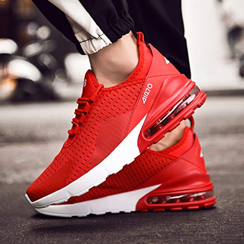 COZOCO Herren Sneakers Mesh Ultraleichte, atmungsaktive, sportliche Laufschuhe(rot,41 EU)