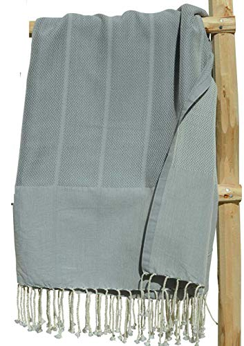 ZusenZomer Fouta Toalla Hammam 'Playa' XXL Gris, Original Lujoso Modelo Extra Grande de Toalla de Sauna | Muy Absorbente y Ligero | 100x190 cm | 100% Algodón con Motivo de Espigas