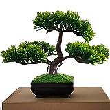 LWBAN -künstliche Bonsai Künstliche Bonsai-Baum Pflanzen Dekoration 2018 Kunstpflanze Grün Kunstblume Deko mit Weiß/Schwarz Töpfen, ca. 20 cm (5 Farben, hohe Qualität), Green