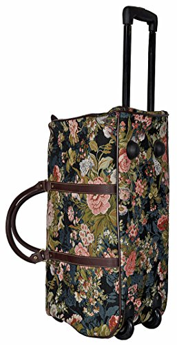 Trolley Blume dunkel mit ausziehbarem Griff Reisetasche Rollen Henkel Tapisserie Gobelin Royaltex Signare Reise Tasche Gepäck Fa. Bowatex