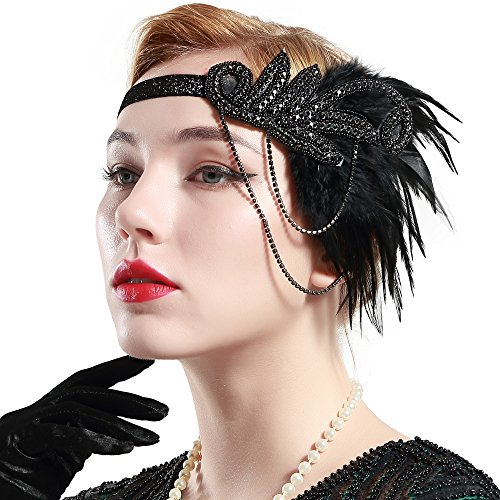 Babeyond Fascia Anni 20 Gatsby Flapper Headband Fascia Charleston con Piuma  Anni 20 Fascia Capelli Gatsby 27ea3bd06b67