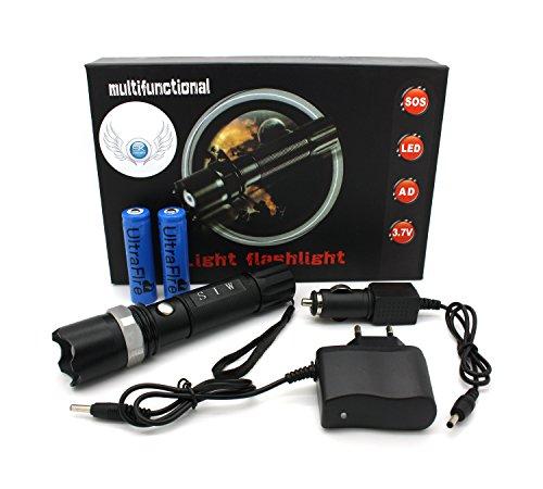 Profi Cree LED Taschenlampe Flashlight SWAT HI-Power | inkl. 2 x Li-ion Akku + Netzteil + KFZ Ladegerät