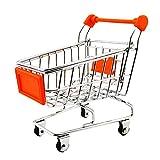 Baoblaze Kinder Einkaufswagen Gitterwagen aus Metall für Kinder Kaufladen Rollenspiel Spielzeug - Orange