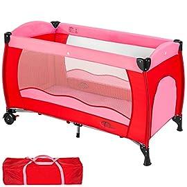 TecTake Lettino da viaggio per bambini con borsa per il trasporto - disponibile in diversi colori - (Rosa | no. 402415)