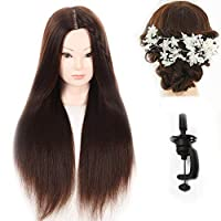 """27"""" Yaki Synthetic Hair Hairdressing Cosmetology Mannequin Manikin Training Training Head With Clamp Stand and Gifts"""