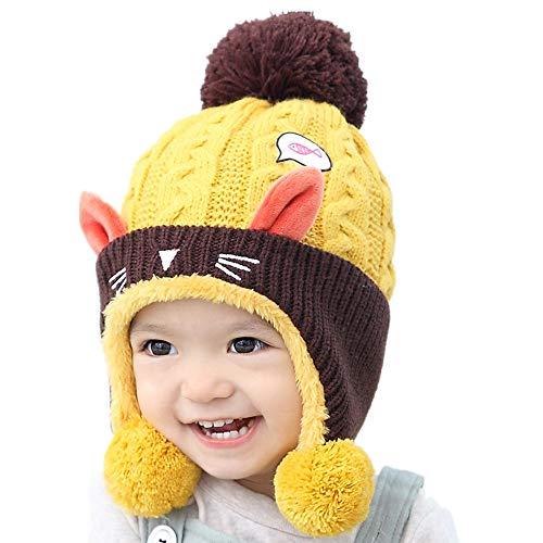Stillshine Baby niedlich Hut Kleinkind warm für den Herbst Winter, Baby Mütze mit Kätzchen Stickmuster (Gelb)