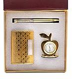 Sakura Enterprise 3 in 1 Golden Corporate Gift Set with Apple Clock,Crystal Pen,Business