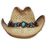 DEMU Herren Damen Cowboyhut Strohhut Westernhut Hut mit Hutband Sonnenhut Sommer Cap