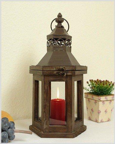 Kleine sechseckige Laterne cottage aus Holz und Metall Höhe 39 cm S -