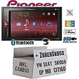 VW UP! | Seat MII | Skoda Citigo 2-DIN schwarz matt - Autoradio Radio Pioneer MVH-A210BT - 2-DIN Bluetooth | MP3 | USB | - Einbauzubehör - Einbauset