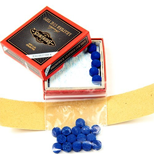 15 X 9mm Leather Blue Diamond Snooker Pool Cue Tips - Free Sandpaper by Blue Diamond