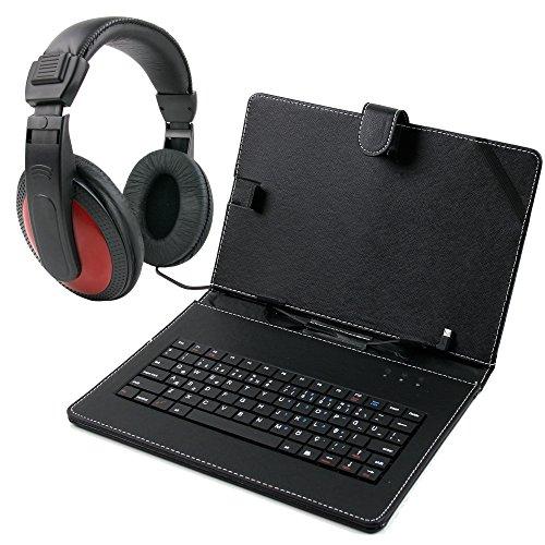 DURAGADGET Praktische Tablet Tastatur (Türkisch) & Schwarze Kunstleder Hülle für das Lenovo Thinkpad Tab 2, Ideatab MiiX, S6000, A2109A & Yoga Tablet 10 & rot-Schwarze Over-Ear Stereo Kopfhörer