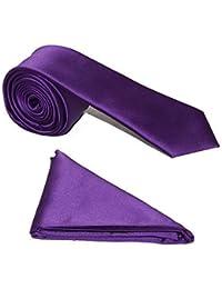 "Men's Satin 2"" Slim Tie and Pocket Handkerchief Set - Cadbury's Purple"