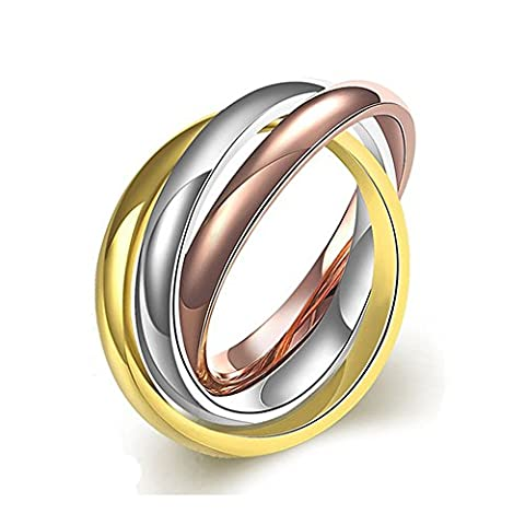 BODYA High Polished Stainless Steel Triple Multi Color Band Ring Interlocked Rolling thin Band Ring