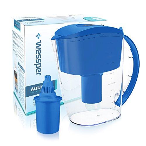 Wessper Jarra de Agua alcalina con 1 Cartucho (reemplazo para Aquaphor Art) 3,5L - Azul