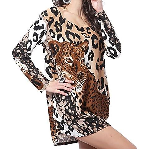 Ksweet Casual camicetta donna autunno leopard Camicia donna manica lunga