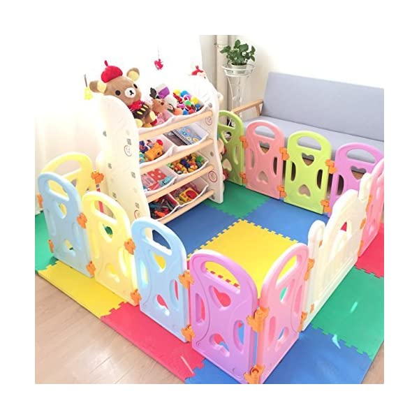 Baby Playpen Kids Activity Centre Safety Play Yard Baby Fence Play Area Baby Gate Home Indoor Outdoor New Pen (Multicolour, Classic Set 14 Panel) (Love 14panels) Gupamiga MOM'S LIFESAVER: Keep baby safe in there play centre when mom/dad needs to cook, clean up, go to the bathroom, etc. STURDY HOLDING: Specially designed rubber feet underneath of the yard so the parts don't go sliding around. COVERS A LARGE AREA: It is a great amount of space for baby to learn walk and even laying with baby in it for play time. 2