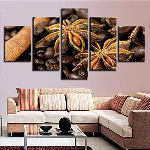 syssyj (Kein Rahmen) Wandbilder Kunst Moderne Hd Druck 5 Stücke Octagon Gewürze Und Kaffeebohnen Modulare Leinwand Malerei Dekor Wohnzimmer Kunstwerke